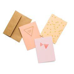 Coral Hue Letterpress Card S/6