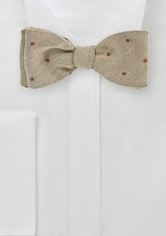 035407b18e27 Camel Color Wool Bow Tie with Red Dots - ties shop - Polka Dot