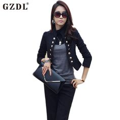 33990f520ba7 GZDL Spring Autumn Cardigan Women Long Sleeve Double Breasted Coat Casual  Short Top Slim Fitted Blazers Jackets Feminino CL1076