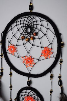 Black Dream Catcher Native American Wall Hanging Dreamcather with Black Feathers and Glass Beads Black and Orange Authentic Tribal Gift for Girl Daughter Sister Girlfriend ✪ DREAMCATCHER AURORA Black dream catcher with orange stars which symbolize lights in the night sky. For production