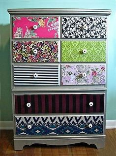 DIY Teen Room Decor Ideas for Girls | DIY Mod Podge Dresser Drawers with Scrapbook Paper | Cool Bedroom Decor, Wall Art & Signs, Crafts, Bedding, Fun Do It Yourself Projects and Room Ideas for Small Spaces http://diyprojectsforteens.com/diy-teen-bedroom-ideas-girls