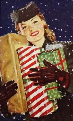 Vintage Christmas Shopping ~ Call me crazy but I wish women still dressed like this. I'm entirely too nostalgic. =)