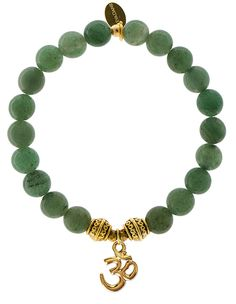 EvaDane Natural Semi Precious Green Aventurine Gemstone Tibetan Bead Om Charm Stretch Bracelet ** Trust me, this is great! Click the image. : Jewelry Bracelets