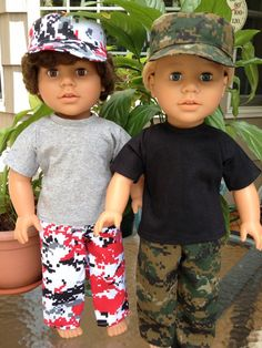 My Sibling and My Pal Dolls — boy doll clothes - digital camo pants outfits - 4 color choices Camo print pants with elastic waist matching hat coordinating t-shirt with hook and loop closure. 18 inch dolls and boots sold separately. Cute Camo Outfits, Camo Pants Outfit, Boy Outfits, American Boy Doll, American Girl Clothes, Boy Doll Clothes, Doll Clothes Patterns, Barbie Clothes, Doll Patterns