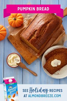 Enjoy all the flavors of pumpkin pie in this easy delicious moist pumpkin bread. Keep it in the refrigerator for a quick breakfast, snack or even a not-too-sweet dessert. More Holiday Recipes Pumpkin Recipes, Fall Recipes, Holiday Recipes, Thanksgiving Recipes, Pumpkin Bread, Pumpkin Spice, Pumpkin Pumpkin, Just Desserts, Dessert Recipes