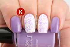 Lilac stamped nails using MoYou Nails Lilac and MoYouNails 221 over Sinful Colors Snow Me White. Plain nails are OPI Do You Lilac It?