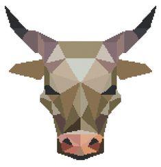 SALE STOCK UP Bull Cross Stitch Pattern Modern par PlatoSquirrel