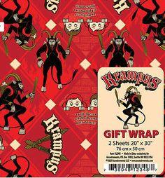 KRAMPUS Demonic MONSTER Gift Wrap PACK 2 sheets NEW Devilish Christmas