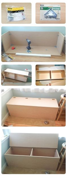 DIY+Storage+Bench, but mine would have a flat screen mounted in the top for playroom