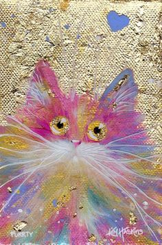 "'Purrty' Poster Print ""The world needs more rainbow cats expressing love,"" Kim Haskins original artwork was created by KIM HASKINS in spring 2016 using gold leaf, acrylic paint and resin. The parts of the painting that are a millimetre or two in the foreground, such as the cat's fur, are slightly more in focus than the background, where gold leaf has been applied to canvas. This creates a slightly three-dimensional illusion to the image, as is the case with the original painting."
