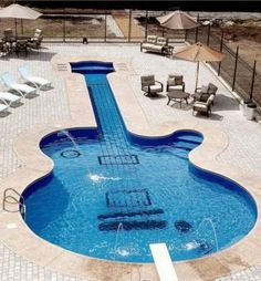 oh my god i totally want a pool like this i love guitars