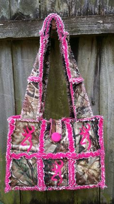 Camo hot pink rag purse . Handmade by me. Available at www.facebook.com/handmade.by.jenni