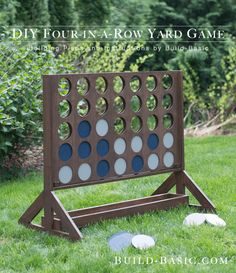 Best DIY Backyard Games - DIY Backyard Game Four In A Row - Cool DIY Yard Game Ideas for Adults, Teens and Kids - Easy Tutorials for Cornhole, Washers, Jenga, Tic Tac Toe and Horseshoes - Cool Projects for Outdoor Parties and Summer Family Fun Outside Outdoor Wedding Games, Diy Outdoor Weddings, Outdoor Fun, Outdoor Decor, Outdoor Toys, Outdoor Parties, Outdoor Checkers, Outdoor Tables, Outdoor Lighting