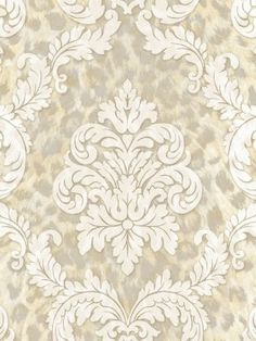 CHR11704 Gabriella from Christel is a gold, grey and cream leopard wallpaper with a cream damask overlay.