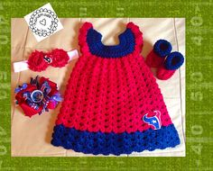 Houston Texans crocheted baby dress for sale and can be made in any size. Go to my Facebook page and message me for ordering info
