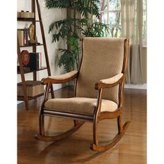 @Overstock - This fabric-covered rocking chair has a modern twist. This furniture is hand-carved with solid hardwood and topped with smooth, soft-to-the-touch autumn brown upholstery.http://www.overstock.com/Home-Garden/Antique-Oak-Rocking-Chair/4734115/product.html?CID=214117 $252.99