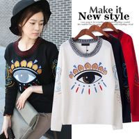 Women Fashion Eye Embroidery Crew Neck Loose Pullovers Jumpers Sweater pullovers Free Shipping