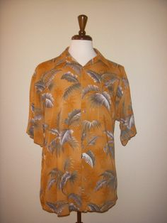 St. John's Island Style Orange Hawaiian Aloha Tiki Shirt Large