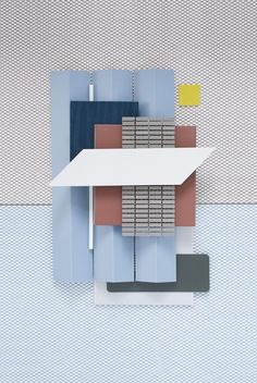 Weekly Material Mood 〰 Ceramics, light blue and pop yellow #mutinaceramics #bouroullec #pattern #blue #yellow #olive #olivegreen #ceramic #coloredwood #design #interior #interiordesign #architecture #material #mood #studiodavidthulstrup