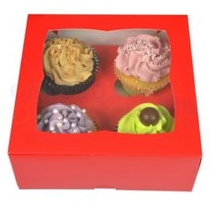4 Cupcake Red Window Box