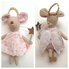 """Mouse angel ornament - Lovely little mouse doll by Maileg. Made in Denmark. 100% Cotton. 5"""" tall"""
