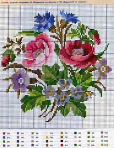 Lú cantinho do bordado e da cozinha: PONTO CRUZ Cross Stitch Rose, Cross Stitch Flowers, Cross Stitch Charts, Cross Stitch Patterns, Cross Stitching, Cross Stitch Embroidery, Colour Chart, Knitting Charts, Crossstitch
