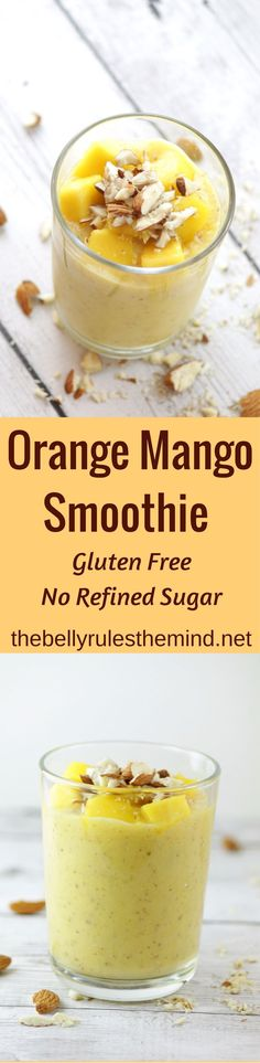 Delicious & easy Orange Mango Smoothie is packed with vitamin C & protein. Kickstart your morning & boost your immunity within 5 minutes using 6 ingredients. GF + Can be made Vegan too |www.thebellyrulesthemind.net @bellyrulesdmind