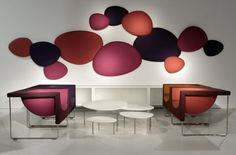 Satellite acoustic panels, Nube armchairs all by STUA. Acoustic Fabric, Acoustic Wall Panels, Office Interior Design, Office Interiors, Acustic Panels, Baffle Ceiling, Picture Ornaments, Acoustic Design, Wall Accessories