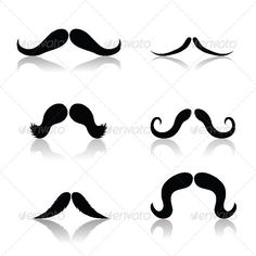 Set of Mustaches ...  accessories, accessory, anonymous, black, cloche, elegance, face, fashion, french, gentleman, hairstyle, hat, head, icon, illustration, isolated, male, man, moustache, mustache, object, set, silhouette, style, white