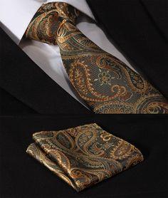 Gold and Orange Detailed Paisley Necktie Set