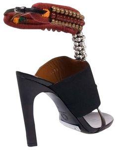 Dries van Noten Runway African Style Black Sandals