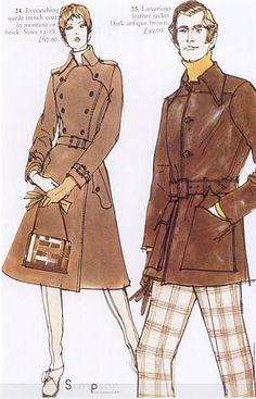 Fashion illustration by Eric Stemp, ca 1971, Simpson's catalogue.