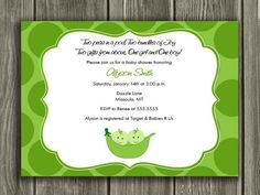 Printable Two Peas in a Pod Baby Shower Invitation | Twins Baby Shower Invitation | FREE thank you card included | Party Package Decorations Available | www.dazzleexpressions.com