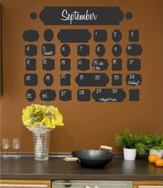 Amazon.com: Vintage Chalkboard Calendar wall saying vinyl lettering home decor decal stickers quotes: Home Improvement