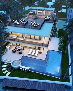 Best Ideas For Modern House Design & Architecture : – Picture : – Description Pompano Beach new construction Modern Mansion, House Goals, Pool Designs, Modern House Design, Glass House Design, Interior Architecture, Luxury Interior, Luxury Decor, Room Interior