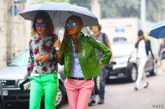 such good combos. #AuroraSansone & AdR in their pink & green fabulousness. Milan. #AnnaDelloRusso