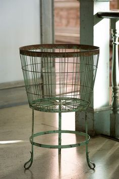 Our Rustic Wire Bushel Basket on Stand will be a fabulous farmhouse addition to your home. Visit Antique Farmhouse for more wire containers and laundry baskets! Antique Farmhouse, Farmhouse Style, Farmhouse Decor, Modern Farmhouse, Farmhouse Baskets, Farmhouse Ideas, Farmhouse Design, Fruit And Vegetable Storage, Bushel Baskets
