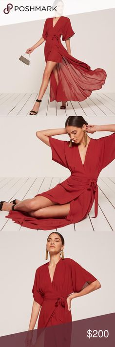 Reformation Chiffon Winslow Maxi Dress in Garnet This is a v-neck, floor length wrap dress wtih a kimono sleeve. - Attached mini skirt liner - Bra friendly - Easy fit - Fitted waist - Cranberry Reformation Dresses Maxi