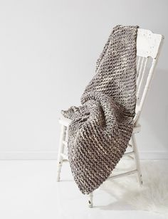 This fantastic afghan is knit up with a simple garter stitch pattern and a subtle neutral shade of Bernat Blanket. These factors alone make this knitafghan pattern an easy, elegant project that's a cinchto work up while watching TV or snuggling