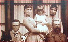Family at Wolfsgarten : Ernst of Hesse, Ella holding niece Princess Alice of Battenburg (prince philip's mother), Alix of Hesse, &   their father the Duke of Hesse