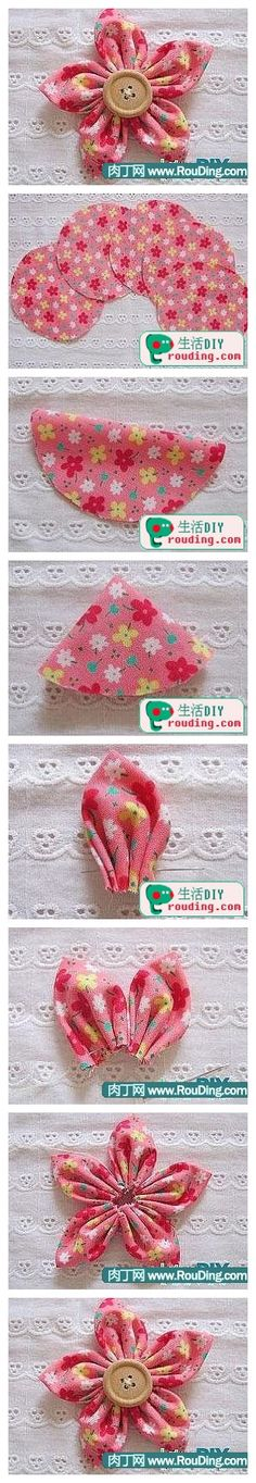 Tutorial for fabric flowers. A great sewing project for beginners. Toys Patterns website Tutorial for fabric flowers. A great sewing project for beginners. Felt Flowers, Diy Flowers, Fabric Flowers, Flower Diy, Button Flowers, Cloth Flowers, Flower Petals, Hand Flowers, Crocheted Flowers
