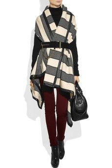 Rag & Bone Leather-Trimmed Striped Woven Wool-Blend Blanket Vest