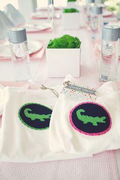 Preppy alligator party: navy, pink + green