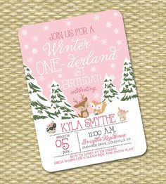 Winter ONE-derland 1st Birthday Invitation First Birthday Invitation Winter ONEderland 2nd Birthday Woodland Animals Pink Snowflakes Snow