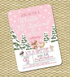 Winter ONE-derland 1st Birthday Invitation First Birthday Invitation Winter ONEderland 2nd Birthday Woodland Animals Pink Snowflakes Snow