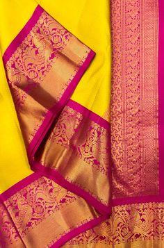 Shop more kanjeevaram saree at Luxurionworld. Yellow Saree Silk, Gold Silk Saree, Indian Bridal Sarees, Wedding Silk Saree, Kanjivaram Sarees Silk, Kanchipuram Saree, South Silk Sarees, Saree Tassels, Pattu Saree Blouse Designs