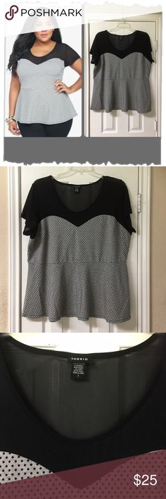 "Torrid Soft Grey Polka Dot PonteW/Black Sheer Yoke Torrid Soft Grey Polka Dot Ponte W/Black Sheer Yoke. Great condition! Rayon/Polyester/Spandex/Nylon blend. Soft grey ponte with polka dots mixes it up with sheer black mesh on this trend-driven peplum top. The sweetheart neckline and darting on the bust creates a beautiful neckline. Bust 49"", waist 44"", length 29"". torrid Tops Blouses"