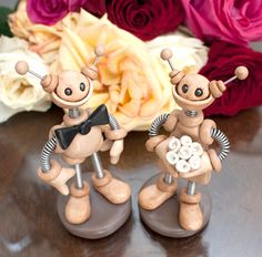 Rustic Robot Wedding Cake Topper by RobotsAreAwesome, $80.00