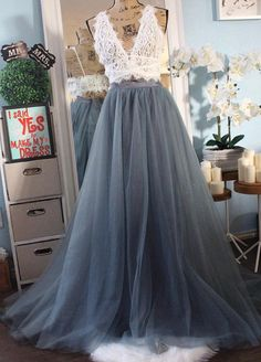 Two Tone Pleated grey blue wedding tulle skirt / dusty blue tulle skirt gray grey brida,prom dress Grey Tulle Skirt, Tulle Wedding Skirt, Bridal Skirts, Blue Wedding Dresses, Tulle Prom Dress, Tulle Skirts, Prom Dresses, Pleated Skirt, Dress Lace