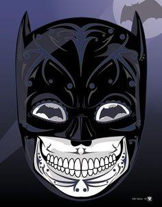 Batman Dark Knight Sugar Skull 11x14 Print by MYantz on Etsy